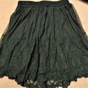 Dark green lace skirt forever 21 NEW!
